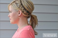 Easy hairstyles that pair well with a natural makeup look for the summer - Half French braid ponytail! My Hairstyle, Ponytail Hairstyles, Pretty Hairstyles, Hairstyle Ideas, Chic Hairstyles, Hairstyles 2018, Everyday Hairstyles, Half French Braids, French Braid Ponytail
