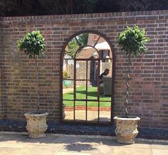 Tall arch architectural mirror from Aldgate Home Garden Mirrors, Courtyard Ideas, Arched Windows, Garden Features, Colorful Garden, First Home, French Doors, Curb Appeal, Restoration