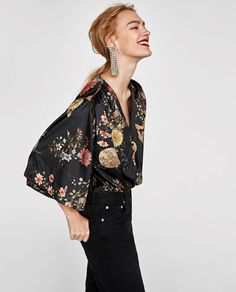 FLORAL VELVET BODYSUIT from Zara