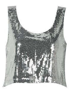 Silver Sequin Embellished Cami Top
