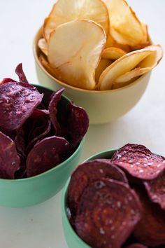 images of roasted root vegetable chips | Root Chip recipe made with yucca, sweet potatoes, and beets.
