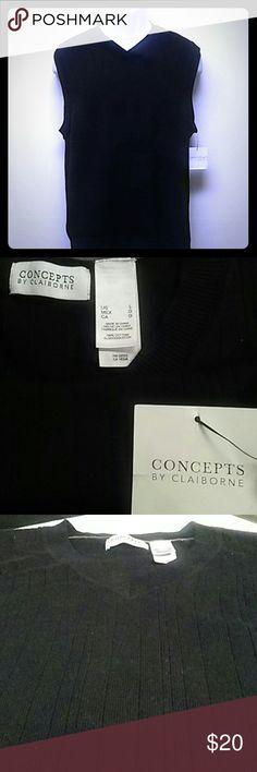 1pc Black V-neck sweater vest Machine wash 1pc black V-neck sweater vest by Concepts by Claiborne 100%cotton Concepts by Claiborne  Sweaters V-Necks