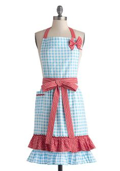 Miss en Place Apron - Blue, Red, White, Polka Dots, Checkered / Gingham, Bows, Ruffles, Vintage Inspired, 50s, Cotton, Pockets