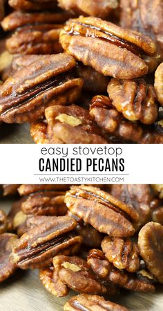 Stovetop Candied Pecans recipe - by The Toasty Kitchen Stovetop candied pecans are a quick and easy treat made with just four ingredients. Pecans are coated in a brown sugar and cinnamon candy coating. #candiedpecans #stovetopcandiedpecans #stovetop #nobake #pecans #thanksgiving #christmas #recipe #homemade #cinnamon Nut Recipes, Side Dish Recipes, Fall Recipes, Cooking Recipes, Sweets Recipes, Desserts, Thanksgiving Dinner Recipes, Christmas Recipes, Candied Pecans Recipe