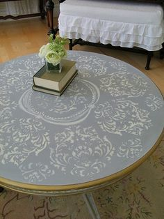 Stencil Painted Table DIY idea living room Whitewashed Chippy Shabby Chic French Country Rustic Swedish decor idea Check out the GOLD LEAF Hand Painted Furniture, Paint Furniture, Upcycled Furniture, Furniture Projects, Furniture Makeover, Home Furniture, Diy Projects, Modern Furniture, Furniture Design