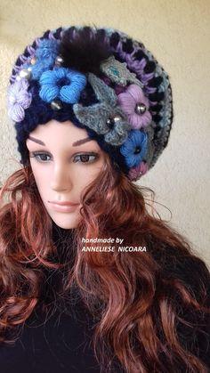 bohemian slouchy hat/Women flowered Hat