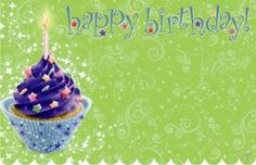 Enclosure Cards. 'Happy Birthday' : Blue cupcake green bckgrnd (SET OF 5) ** Learn more by visiting the image link.