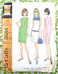 McCalls 8684  Vintage 1960s Womens Shift Dress by Fragolina