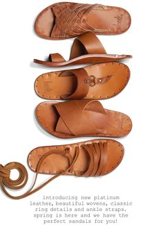 introducing new platinum leather, beautiful wovens, classic ring details and ankle straps. spring is here and we have the perfect sandals for you! Leather Slippers For Men, Types Of Handbags, Shoe Pattern, How To Make Shoes, Leather Projects, Shoe Art, Leather Sandals, Men Sandals, Huaraches