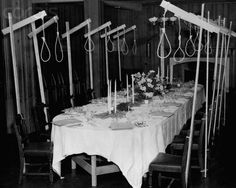 "Nooses Over the Dining Table - IH179504 - Rights Managed - Stock Photo - Corbis. ""General Hap Arnold set out a dining table for the accused at Nuremberg, complete with nooses"". 1946. Location:Nuremberg, Germany"