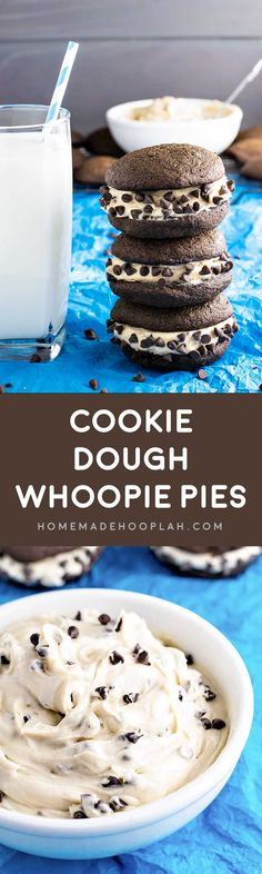 Creamy (eggless) cookie dough sandwiched between two chocolate cake cookies. A perfect indulgently sweet finger food! Cookie Desserts, Easy Desserts, Cookie Recipes, Delicious Desserts, Dessert Recipes, Finger Desserts, Eggless Desserts, Delicious Cookies, Pie Recipes