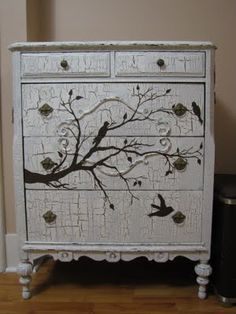 An old dresser we crackled and painted