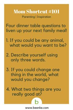 Parenting and Inspiration Shortcuts Dinner questions to liven up meal time. Get your daily source of awesome life hacks and parenting tips! CLICK NOW to discover more Mom Hacks. inspiration Parenting Hacks To Simplify Your Family Life - Beenke Parenting Advice, Kids And Parenting, Practical Parenting, Natural Parenting, Parenting Classes, Parenting Styles, Parenting Humor, Useful Life Hacks, Raising Kids