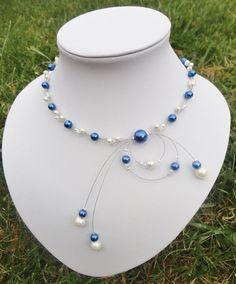 Collier mariée mariage soirée perles blanc (ou ivoire )bleu roi  Adéle