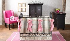 Black and pink are a striking combination for your little girl's nursery. With this jewel of a crib, you can float it in the middle of the room so the beautiful scroll work can be admired from all sides.