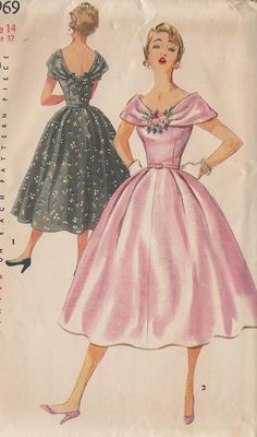 Vintage 1950's Misses'  Dress Pattern, Low Neckline, Large Collar,  Off Shoulder, Full Skirt, Simplicity 4969. $16.00, via Etsy.