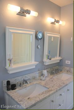 master bathroom square sinks...double vanity for both bathrooms