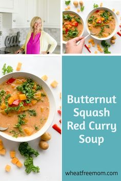 This gluten-free butternut squash red curry soup is full of veggies and curry flavours. The soup would be perfect for meatless Monday or anytime you want a bowl of comfort food! Meal Recipes, Gluten Free Recipes, Coconut Milk Curry, Curry Soup, Free Meal, Butternut Squash Soup, Meatless Monday, Soups And Stews, Food Print