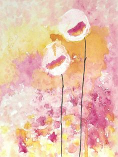 Abstract Art Watercolor Acrylic Rose Pink Orange by LamArtStudio