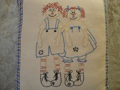 Embroidered pillow Pillow Raggedy Anne and by RaggedyAndCompany