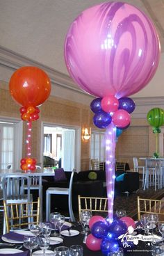 Marble Balloons with Tulle & Rice Lights