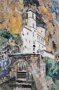 Church Carved in Rock Marble Mosaic - mosaic art - mosaic designs - mosaic ideas   mozaico