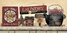 Self Serve Laundry by artist Linda Spivey Primitive Painting, Primitive Folk Art, Country Primitive, Primitive Decor, Laundry Art, Laundry Room, Laundry Signs, Framed Art Prints, Fine Art Prints
