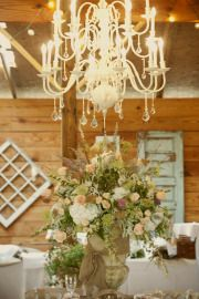 Shabby chic accents and the rustic quality of barn wood.