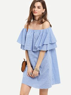 Blue Off The Shoulder Micro Plaid Ruffle Dress
