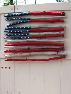 DIY Rustic Stick USA Flag:
