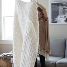 There isn't an easier crochet blanket than this one! PLUS it is perfectly chunky and cozy in the best way possible.