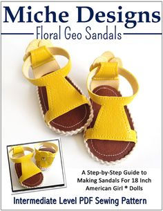 """FLORAL GEO SANDALS 18"""" DOLL SHOES"""