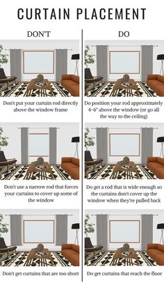 the do's and don'ts of curtain placement - how high should I hang my curtains above the window? How long do my curtains need to be? curtains THE DO'S + DON'TS OF CURTAIN PLACEMENT Curtains Living, Hanging Curtains, Bedroom Curtains, Custom Curtains, Kitchen Curtains, Window Curtains, Küchen Design, House Design, Bedroom Furniture Placement