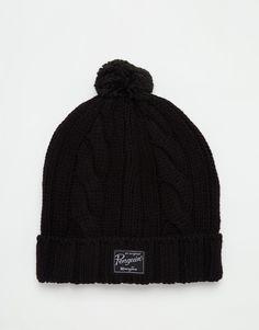 Bonnet par Original Penguin Pompon au sommet Revers Étiquette logo appliquée Lavage en machine 100% acrylique