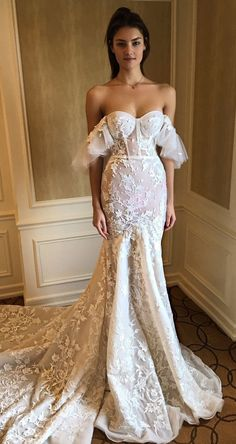 berta spring 2020 bridal off shoulder sweetheart fully embellished lace trumpet sheath mermaid wedding dress elegant romantic chapel train mv -- Berta Spring 2020 Wedding Dresses Second Wedding Dresses, Wedding Dress Trends, Country Wedding Dresses, Bridal Dresses, Modest Wedding, Boho Wedding, Wedding Blue, Gothic Wedding, Casual Wedding
