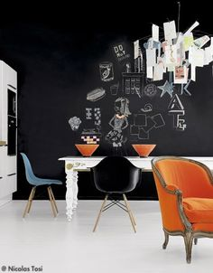 blackboard + colorful chairs