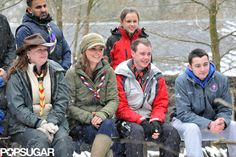 Kate Middleton Cracks Up by a Campfire With Cub Scouts: Kate Middleton walked through the snow.   : Kate Middleton hung out by a campfire.