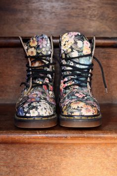 Floral Doc Marten's, add to a girly dress with chunky socks