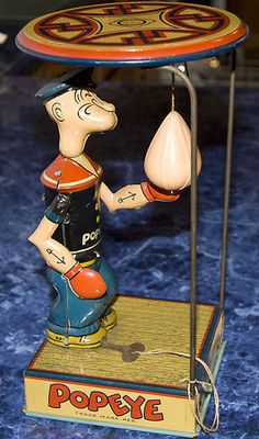 TIN WIND UP LITHOGRAPH TOY POPEYE & PUNCHING BAG 1930 'S