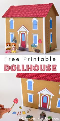 Learn how to make a cardboard dollhouse with these free printable dollhouse templates! #printable #dollhouse #cardboard #diytoys Paper Doll Template, Paper Dolls Printable, Cardboard Dollhouse, Diy Dollhouse, Diy Craft Projects, Crafts For Kids, Craft Ideas, Templates Printable Free, Free Printables