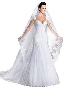 aed8d688227a online shopping for Ikerenwedding Women's Lace Trailing Mermaid Wedding  Dress Veil Gloves from top store. See new offer for Ikerenwedding Women's  Lace ...