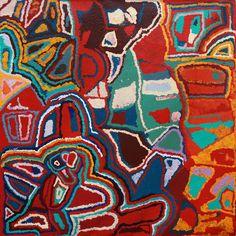 Mabel Wakarta - Yirajarra country - 183 x 183 cm - 13-1012 http://www.aboriginalsignature.com/martumiliartpeintureaborigene/mabel-wakarta-yirajarra-country-183-x-183-cm-13-1012