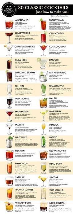 Classic cocktails.