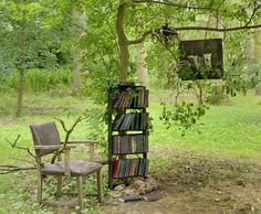 Sculpture: Library in the woods at CoughtonCourt