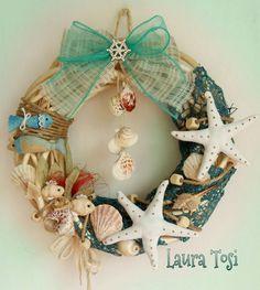 Ghirlanda marina by Laura Tosi https://www.facebook.com/fattoconamorelaura #cucitocreativo #wreath #ghirlanda #mare #estate #mvcreativemamy #creativemamy #handmade #handmadewhitlove #artesanato #creativas