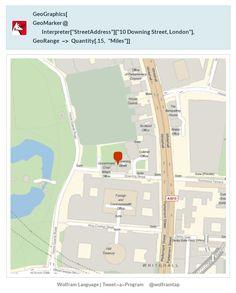 "GeoGraphics[  GeoMarker@Interpreter[""StreetAddress""][""10 Downing Street, London""],   GeoRange -> Quantity[.15, ""Miles""]]"