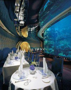 This Is A Picture Of The Underwater Restaurant Inside Of The Burj Al Arab Hotel On Jumeirah Beach; Located In Dubai, United Arab Emirates. Dubai Hotel, In Dubai, Dubai Uae, Burj Al Arab, Abu Dhabi, Cool Restaurant, Luxury Restaurant, Restaurant Interiors, Hotel Interiors