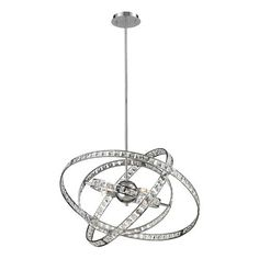 82030/6 | Saturn 6 Light Pendant In Chrome And Clear Crystal - 82030/6