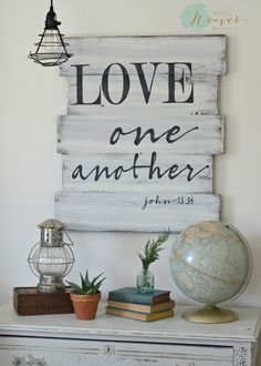 Love one another - wood sign by Aimee Weaver Designs, made from reclaimed barn wood, scripture sign