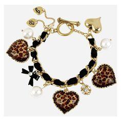 Betsey Johnson Leopard Heart Charm Bracelet found on Polyvore